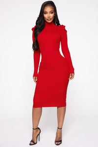 Cold Case Sweater Midi Dress - Red