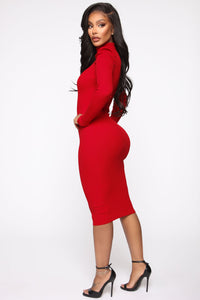 Cold Case Sweater Midi Dress - Red Angle 3