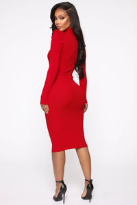 Cold Case Sweater Midi Dress - Red Angle 4