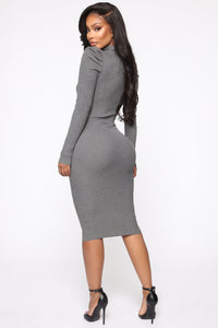 Cold Case Sweater Midi Dress - Charcoal