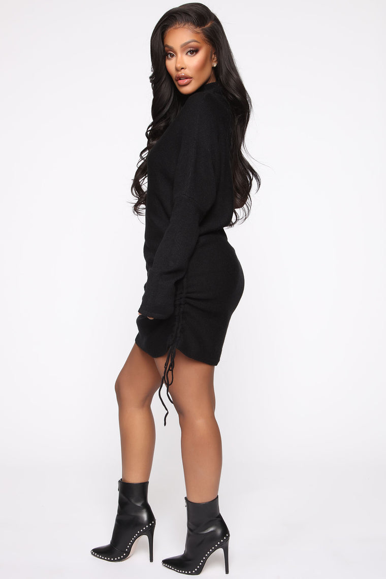 Golden Sky Sweater Mini Dress - Black