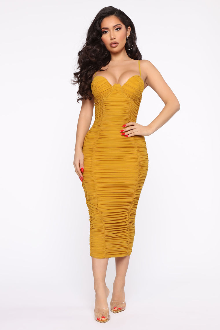 Need You In My Life Ruched Midi Dress   Mustard by Fashion Nova