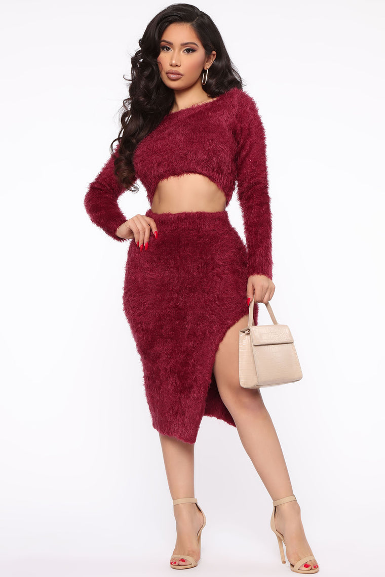 Belinda Fuzzy Skirt Set   Burgundy by Fashion Nova