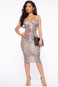 Savannah Nights Sequin Midi Dress - Gold/Combo