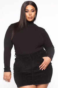 Denyin' Love Turtle Neck Top - Black