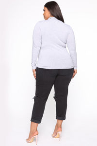 Knowin' You Mock Neck Top - Heather Grey Angle 2