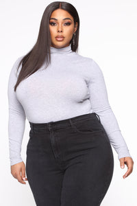 Knowin' You Mock Neck Top - Heather Grey Angle 1