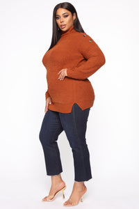 Chillin' Without You Tunic Sweater - Rust