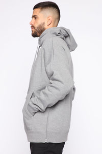 Dom Side Zip Hoodie - Heather Grey Angle 2