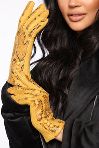 Slithering Around Gloves - Mustard Angle 1