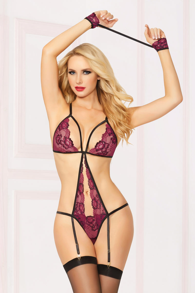 Crossing Paths 3 Piece Lace Teddy Set - Wine