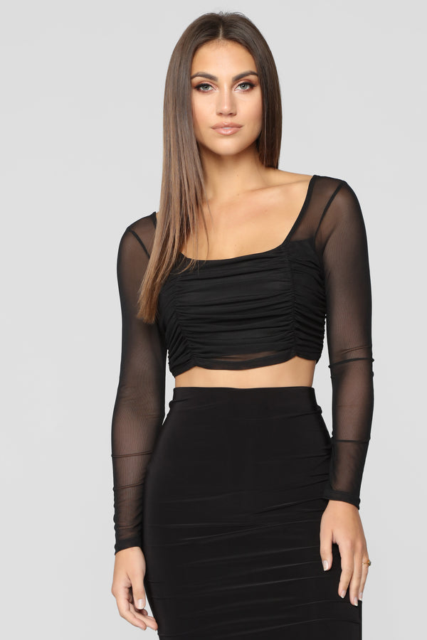 ef1618a7e2 Friday Night Out Crop Top - Black