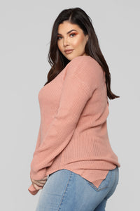 Georgina Caged Back Sweater - Mauve Angle 9