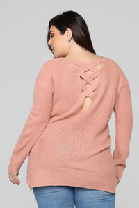 Georgina Caged Back Sweater - Mauve
