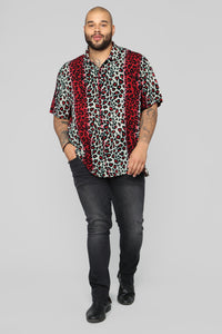 Fiery Jungle Short Sleeve Woven Top - Red/Combo Angle 7