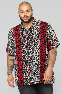 Fiery Jungle Short Sleeve Woven Top - Red/Combo Angle 6