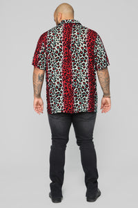 Fiery Jungle Short Sleeve Woven Top - Red/Combo Angle 10