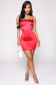 Flirtini Satin Mini Dress - Red