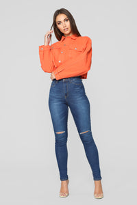 Bright Lights Denim Jacket - Neon Orange Angle 2