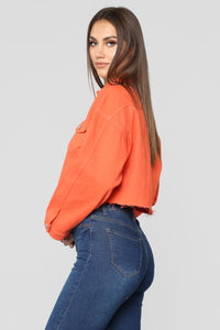 Bright Lights Denim Jacket - Neon Orange Angle 3