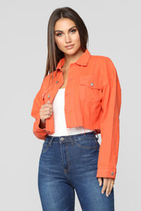 Bright Lights Denim Jacket - Neon Orange Angle 1