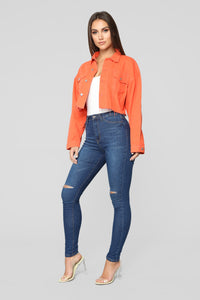Bright Lights Denim Jacket - Neon Orange Angle 4