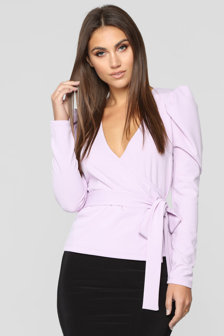 It's A Wrap Long Sleeve Top - Lilac