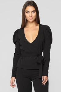 It's A Wrap Long Sleeve Top - Black