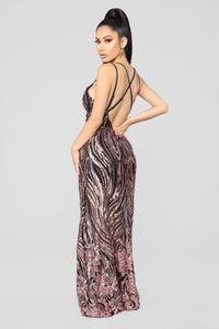 Cherished Sequin Dress - Rose Gold/Black