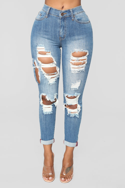 Cathy Mid Rise Distressed Jeans - Medium Blue