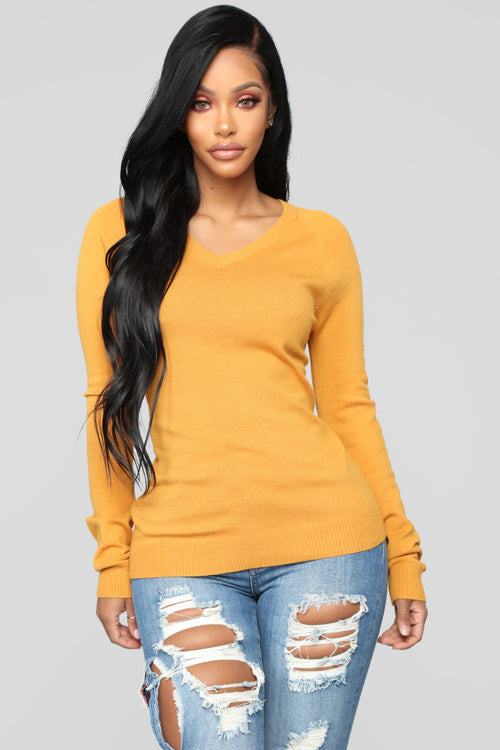 Essential V Neck Sweater - Mustard