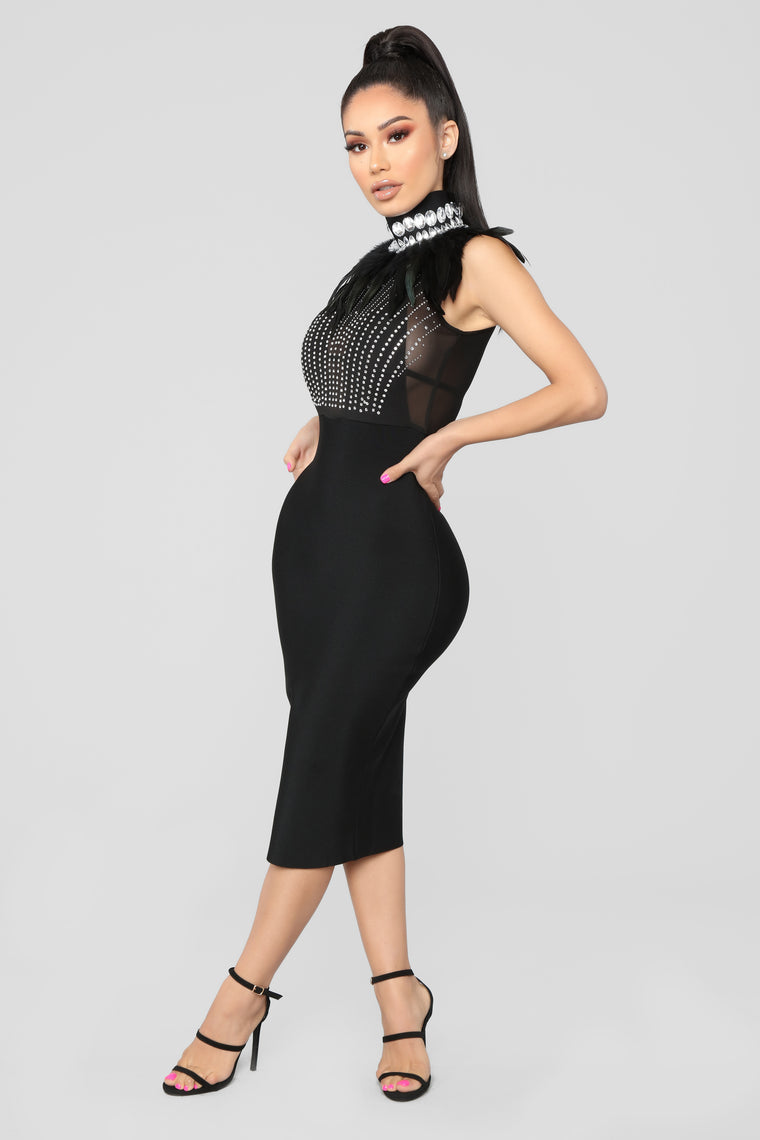 It Could Be Love Rhinestone Dress - Black