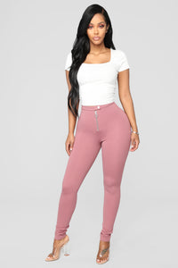 Unrivaled And On Top Ponte Pants - Rose Angle 3