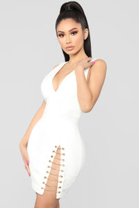 Let's Link Up Chain Dress - White