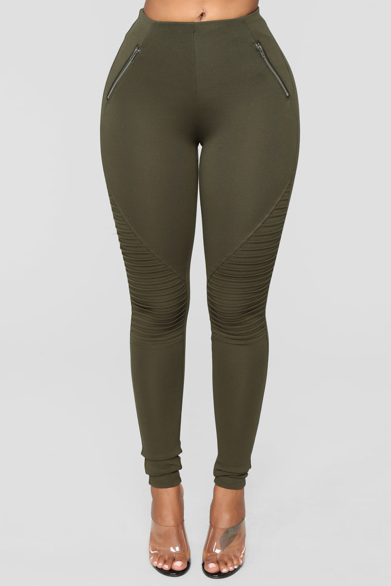 Jossie Stretch Moto Pants - Olive