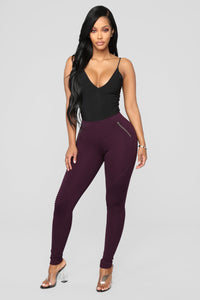 Jossie Stretch Moto Pants - Plum Angle 1