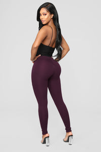 Jossie Stretch Moto Pants - Plum Angle 6
