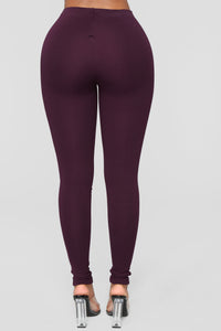 Jossie Stretch Moto Pants - Plum Angle 5