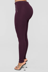 Jossie Stretch Moto Pants - Plum Angle 4