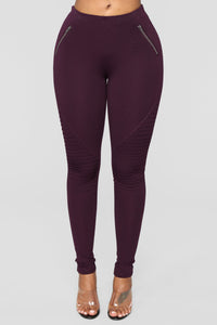 Jossie Stretch Moto Pants - Plum Angle 2