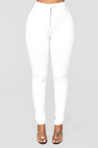 Unrivaled And On Top Ponte Pants - Ivory Angle 1