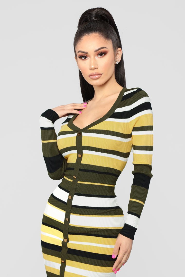 When We Collide Sweater Dress - Olive/Combo