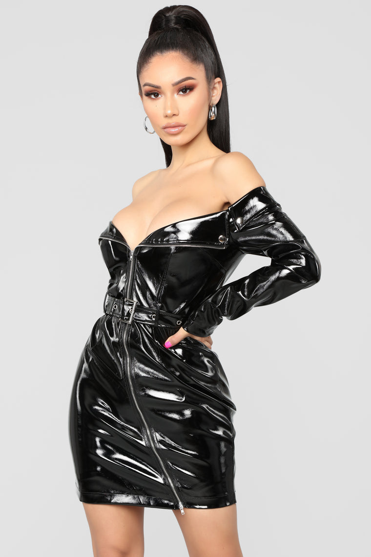 Don't Tempt Me Latex Dress - Black