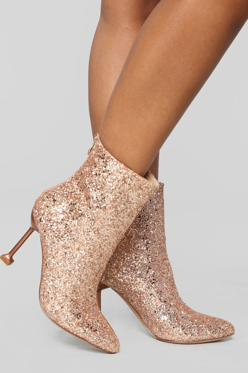 Watch Me Shine Bootie - Rosegold