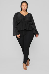 Hello Darling Long Sleeve Top - Black Angle 6