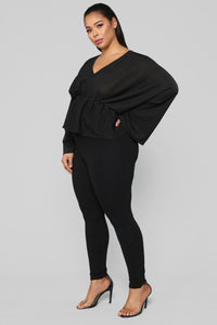 Hello Darling Long Sleeve Top - Black Angle 8