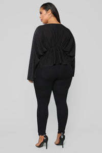 Hello Darling Long Sleeve Top - Black Angle 9