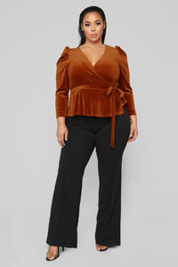 Velvet Dreams Wrap Top - Rust Angle 7