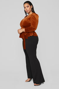 Velvet Dreams Wrap Top - Rust Angle 8