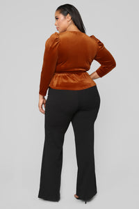 Velvet Dreams Wrap Top - Rust Angle 10